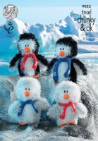 9025 Knitting Pattern - Tinsel Chunky Penguins 6-8""