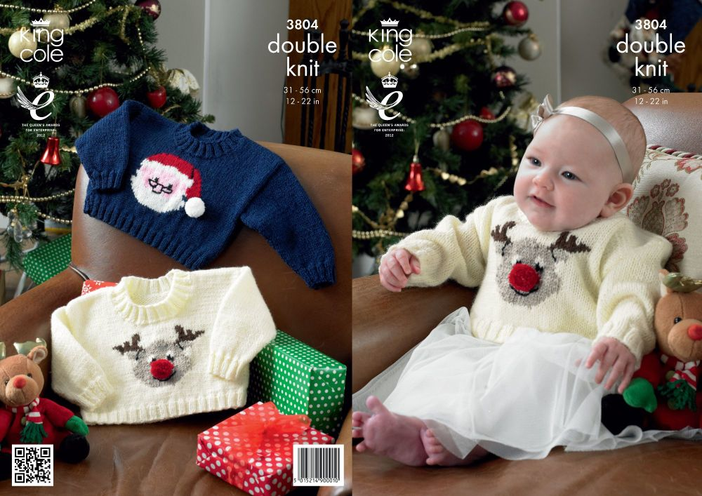 3804 Knitting Pattern - DK (Babies - Christmas) 12 - 22