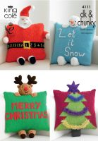 4111  Knitting Pattern DK & Chunky - Christmas Novelty Cushions