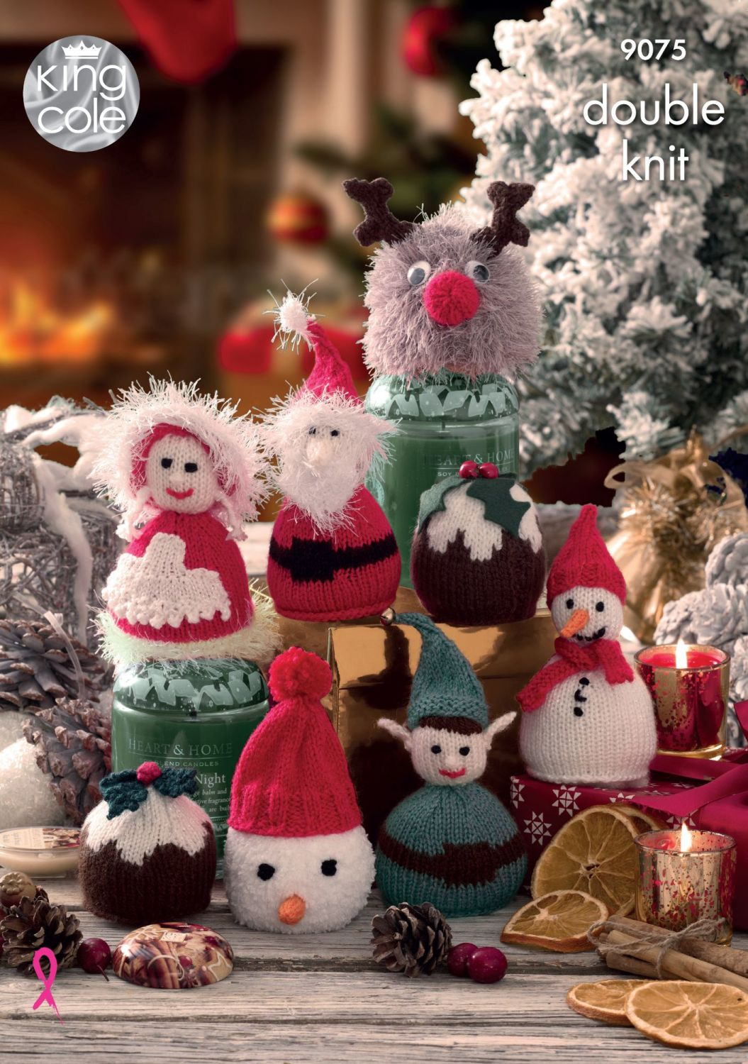 9075 Knitting Pattern DK - Christmas Candy Cosies
