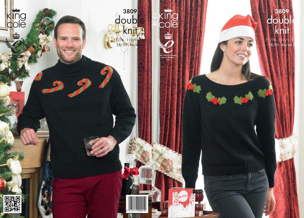 3809 Knitting Pattern - DK (Adult Christmas) 28/30 - 44/46