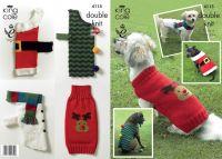 4115 Knitting Pattern in DK - Christmas Dog Coat