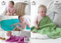3393 Knitting Pattern Chunky - Babies Blankets