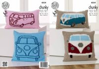 4324 Knitting Pattern  - Camper Van Cushions in King Cole Chunky