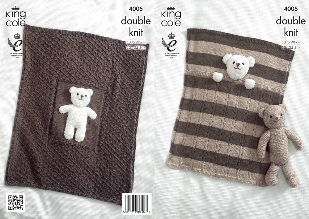 4005 Knitting Pattern DK - Baby Blanket & Teddy Bear Toy