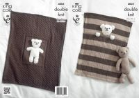 4005 Knitting Pattern DK - Baby Blanket & Teddy Bear Toy