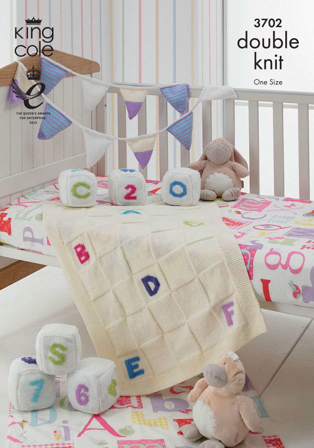 3702 knitting Pattern DK - Blocks, Bunting and Blanket