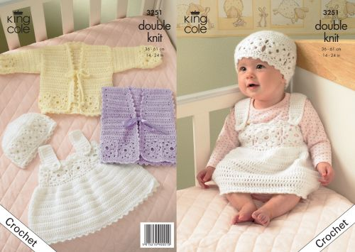 3251 Crochet Pattern Babies Double Knit 14 24