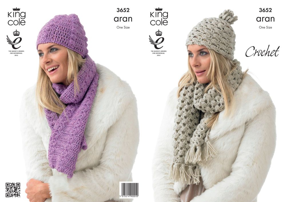 3652 Crochet Pattern Aran - Ladies Hats & Scarfs