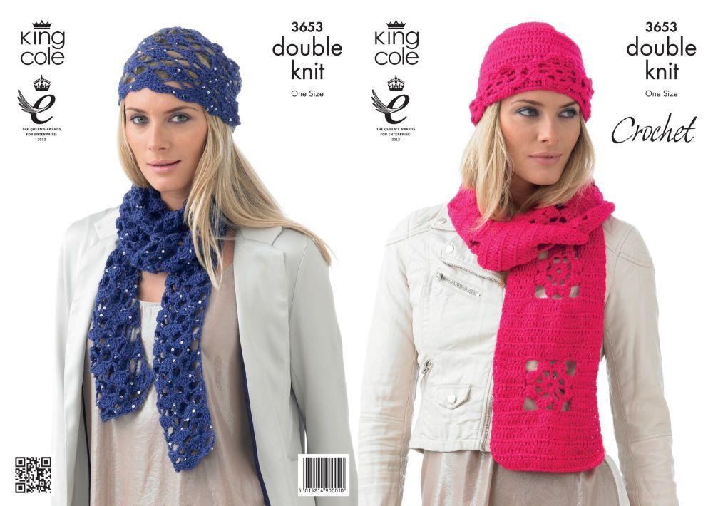 3653 Crochet Pattern DK - Ladies Hats & Scarfs
