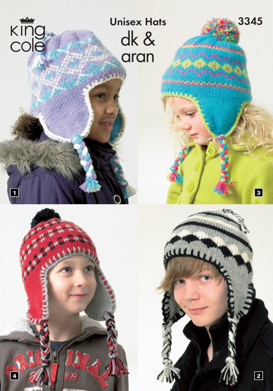 3345 Knitting Pattern - DK & Aran Children's Hats
