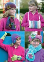 3298 Knitting Pattern - Girls Hats, Scarfs, Gloves & Handwarmer