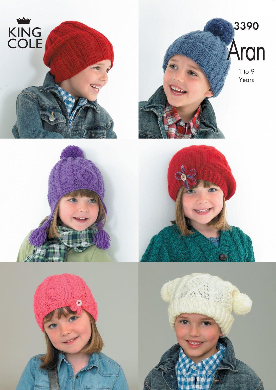 3390 Knitting Pattern Aran - Boys & Girls 1 to 9 Years Hats