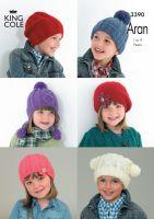 3390 Knitting Pattern Aran - Boys & Girls 1 to 9 Years Hats