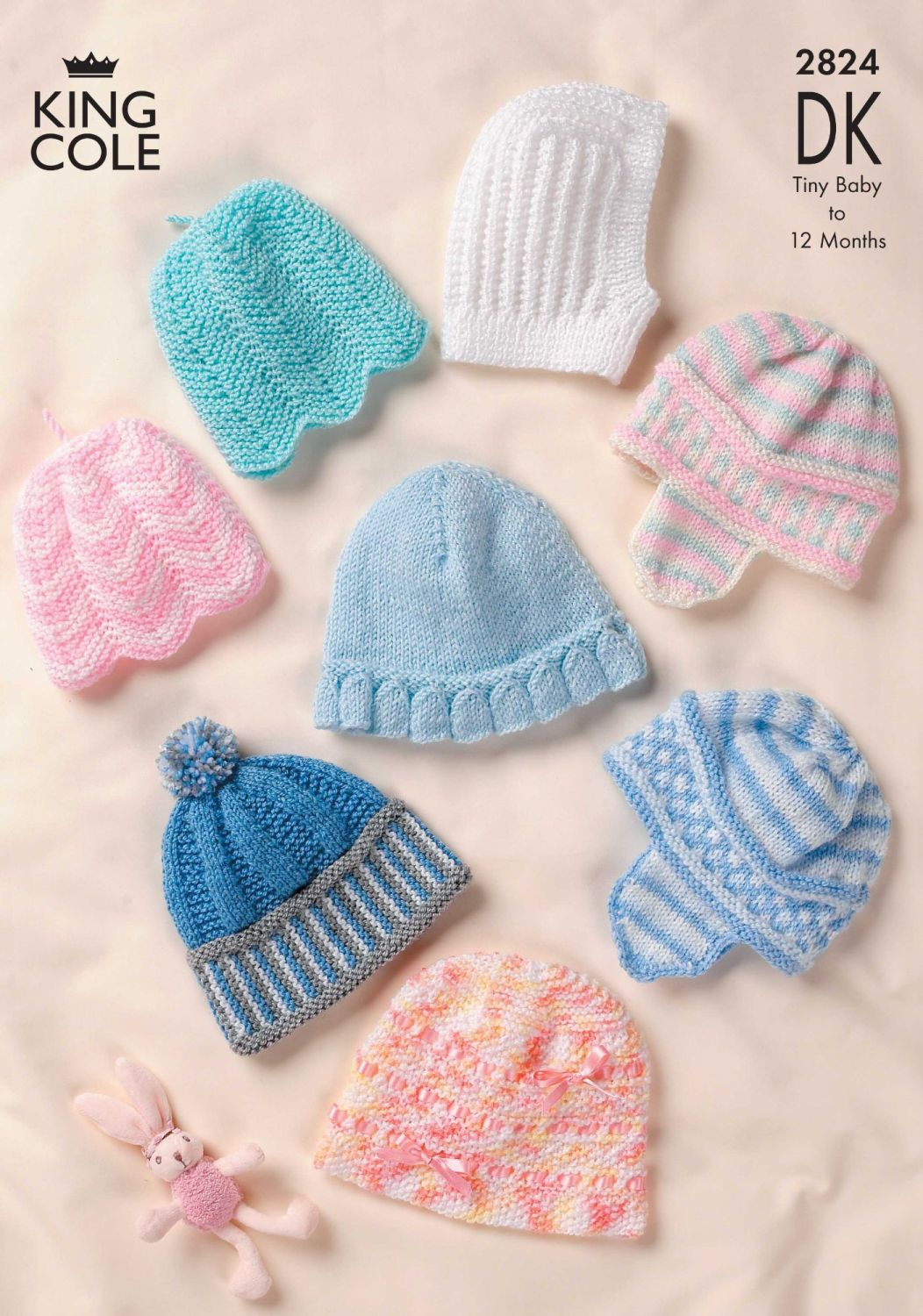 2824 Knitting Pattern DK - Babies Hats Tiny to 12 Months