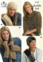 3157 Knitting Pattern Double Knit - Hand Warmers, Hats, Scarf & Shawl