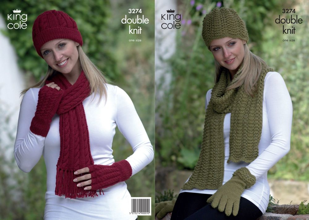 3274 Knitting Pattern DK - Hats, Scarfs & Gloves