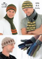 3296 Knitting Pattern DK & Chunky - Mens Hats, Scarfs & Gloves