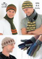 3296 Knitting Pattern DK & Chunky - Mens Hats, Scarfs & Gloves