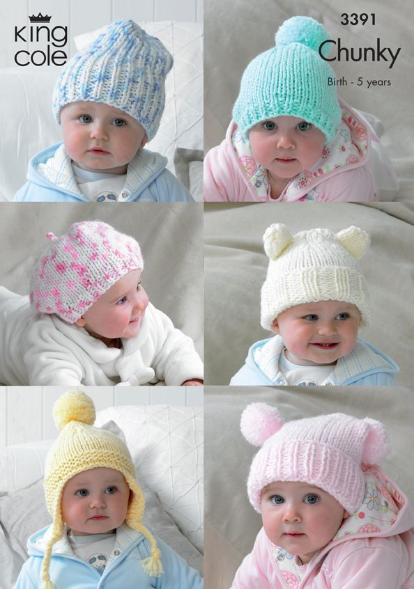 3391 Knitting Pattern - Chunky Hats Birth - 5 Years