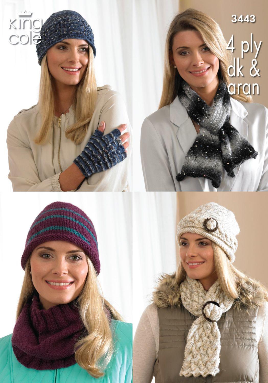 3443 Knitting Pattern 4 Ply, DK & Aran - Ladies Hats, Scarf, Cowl & Fingerl