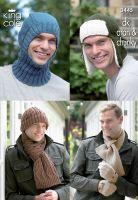 3445 Knitting Pattern  DK, Aran & Chunky - Mens Hats, Scarfs & Balaclava