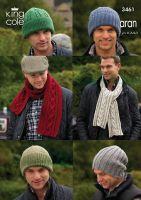 3461 Knitting Pattern Aran - Mens Hats & Scarfs 7yrs to Adult
