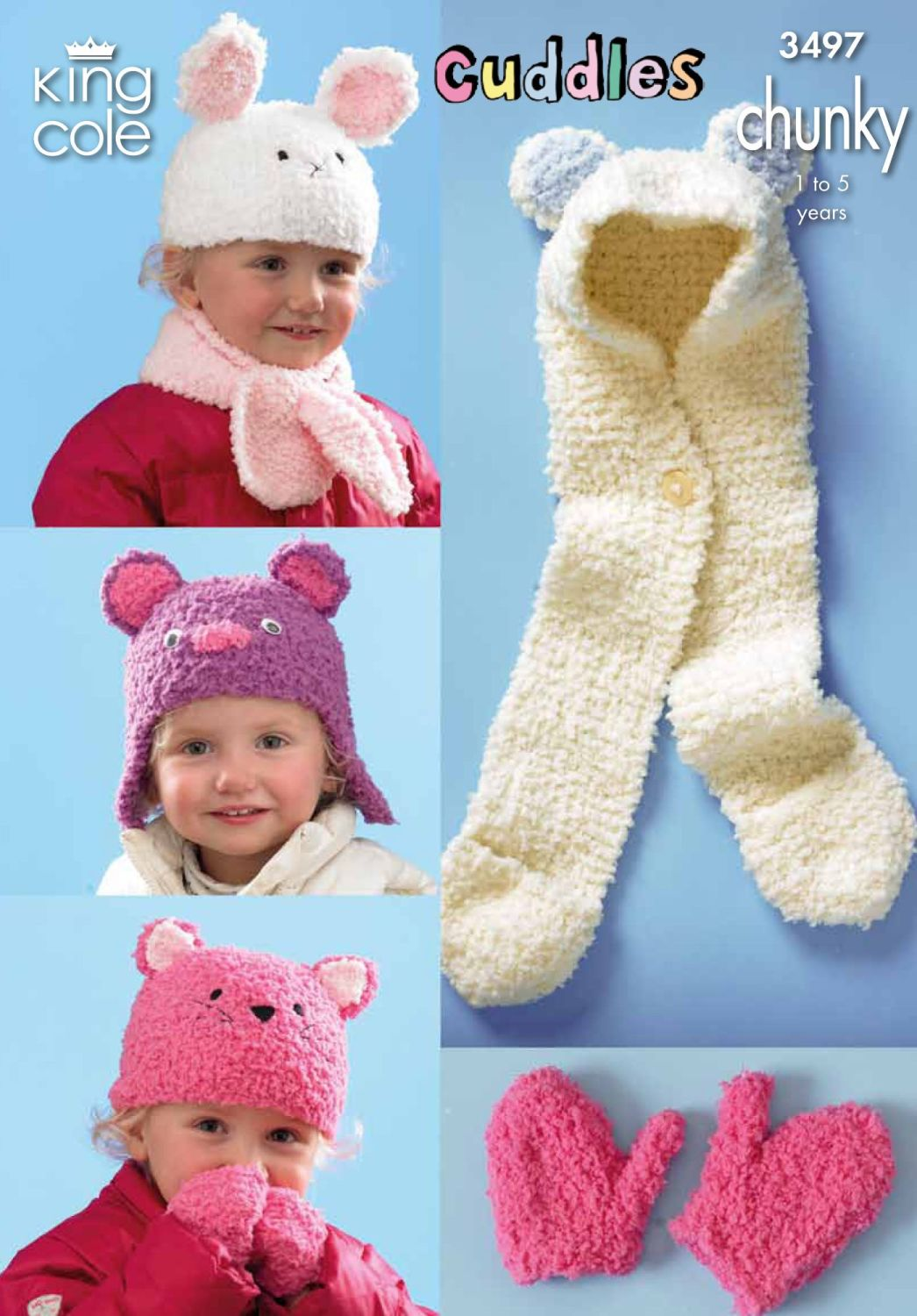 3497 Knitting Pattern Cuddles Chunky - Hats, Scarfs & Mittens 1-5 yrs