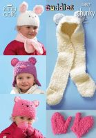 3497 Knitting Pattern Cuddles Chunky - Hats, Scarfs & Mittens 1-5 yrs