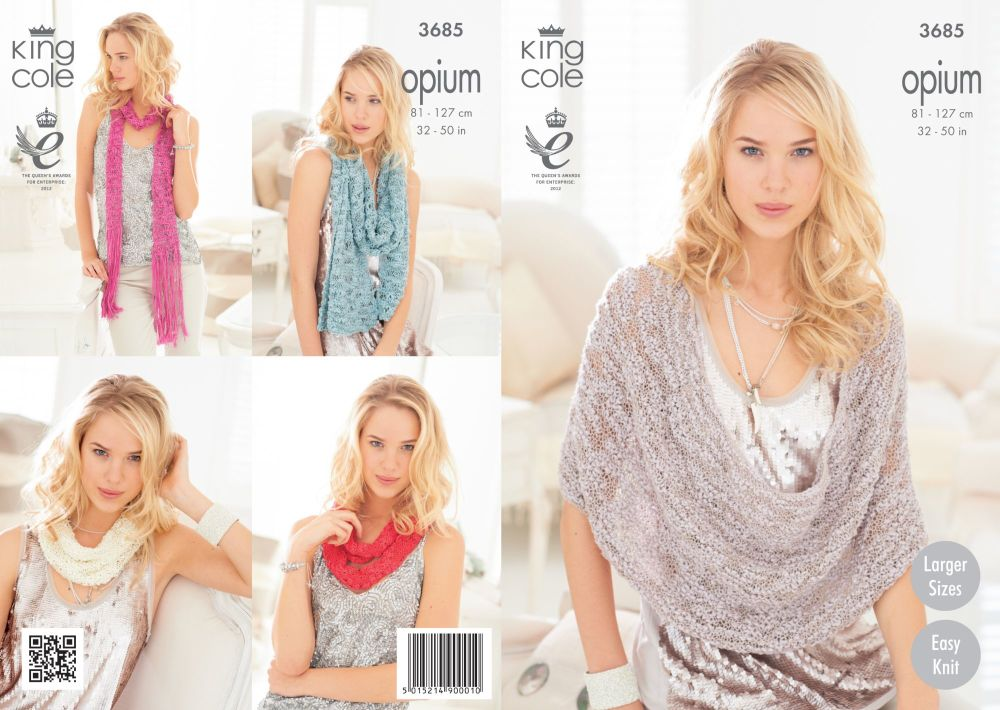 3685 Knitting Pattern in Opium - Ladies Snood, Poncho & Wrap