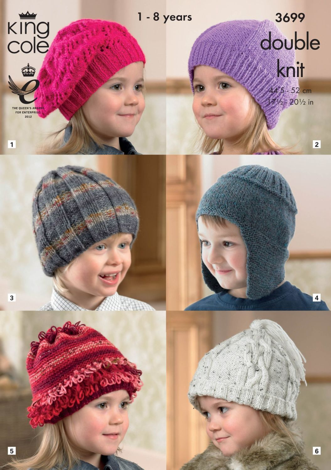 3699 Knitting Pattern DK - Childrens Hats 1 - 8 Years