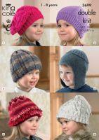 3699 Knitting Pattern DK - Childrens Hats 1 - 8 Years