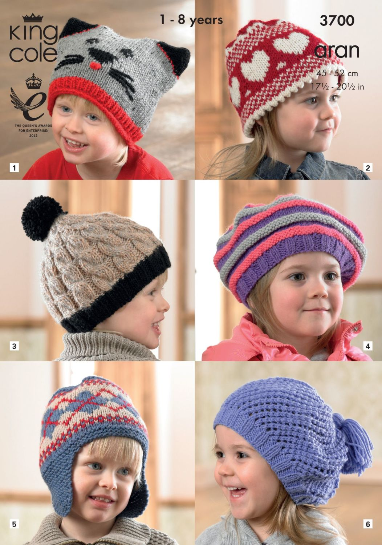 3700 Knitting Pattern Aran - Childrens Hats 1 - 8 Years