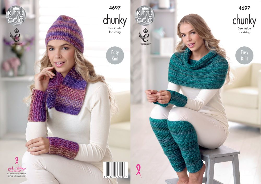 4697 Knitting Pattern Chunky - Ladies Scarf, Hat, Leg & Wrist Warmers & Wra