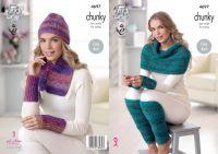 4697 Knitting Pattern Chunky - Ladies Scarf, Hat, Leg & Wrist Warmers & Wrap (Easy Knit)