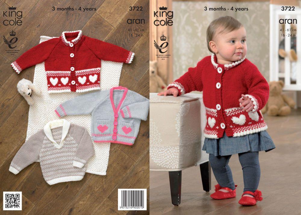 3722 Knitting Pattern Aran - 3 Months - 4 Years
