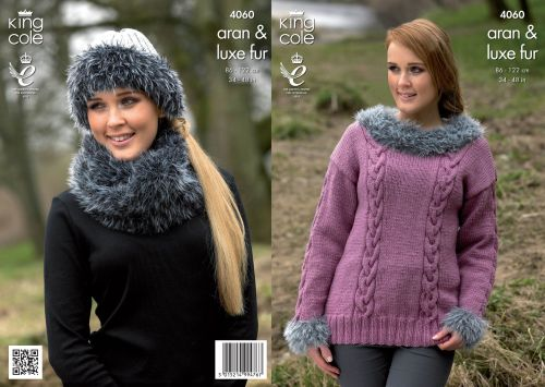4060 Knitting Pattern - Aran & Luxe Fur 34