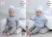 "5255 Knitting Pattern - 16 - 26"" Babies DK (EASY KNIT)"