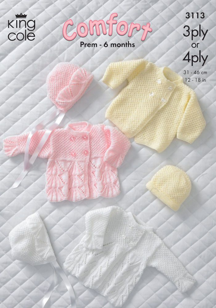 3113 Knitting Pattern - Babie's Comfort 3Ply & 4Ply