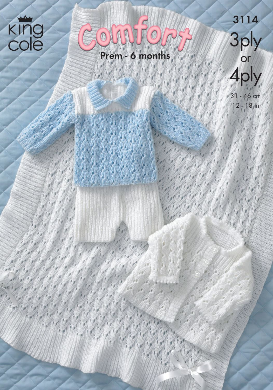 3114 Knitting Pattern - Babie's Comfort 3ply & 4ply