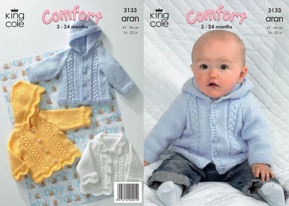3133 Knitting Pattern - Aran (Baby) 3 - 24 Months