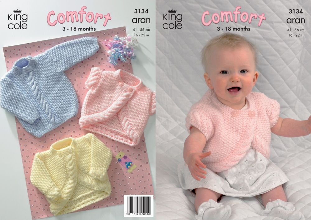 3134 Knitting Pattern - Aran (Baby) 3 - 18 Months