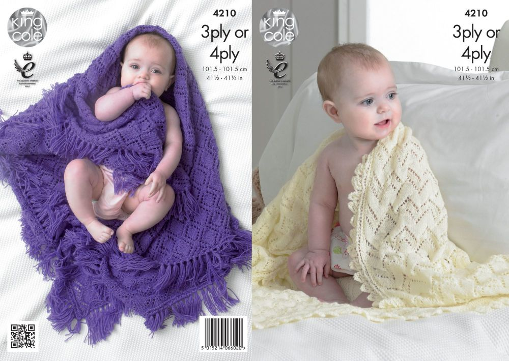 4210 Knitting Pattern - 3 Ply or 4 Ply Baby Shawls