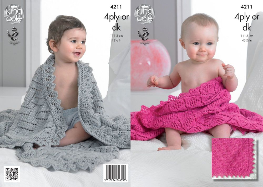 4211 Knitting Pattern - 4 Ply or DK Baby Shawls