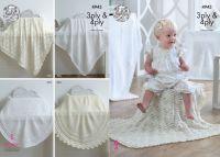 4943 Knitting Pattern - 3 Ply & 4 Ply Square & Circular Baby Shawls