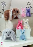9050 Knitting Pattern - Rabbits in Tinsel Chunky & DK