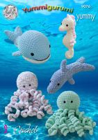 9076 Crochet Pattern - Snuggle Octopus, Whale, Seahorse & Dolphin in Yummy