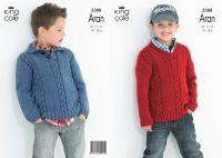 "3388 Knitting Pattern Aran - 18"" - 28"" Boys"