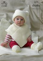 3392 Knitting Pattern - Chunky Birth - 6 Years Hat, Poncho, Bootees & Blanket