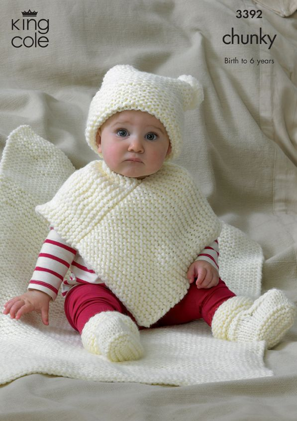 3392 Knitting Pattern - Chunky Birth - 6 Years Hat, Poncho, Bootees & Blank